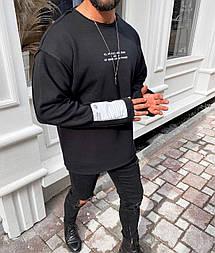 Свитшот - Стильный мужской черный свитшот на флисе