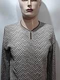 Стильный шерстяной мужской свитер с v-образным вырезом Турция Бежевый, фото 8