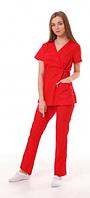 Медицинский костюм Манила красный, фото 1