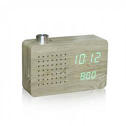 "Смарт-будильник + FM-радио ""ASH RADIO"" корпус дерево"