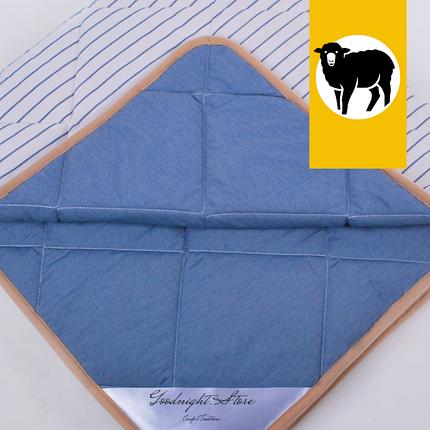 Одеяло с шерсти Мериноса облегченное Lite Goodnight.Store 100х140 см (цвет синий / белый в полоску), фото 2
