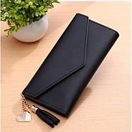 Женский кошелек клатч чергого цвета, жіночий гаманець, фото 4