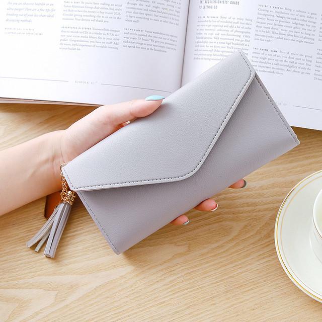 Женский кошелек клатч серого цвета, жіночий гаманець
