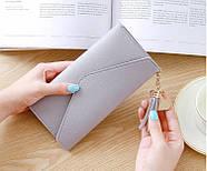 Женский кошелек клатч серого цвета, жіночий гаманець, фото 2