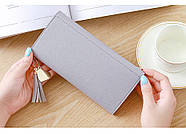 Женский кошелек клатч серого цвета, жіночий гаманець, фото 4