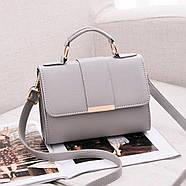 Женская сумка через плечо серого цвета, женская сумочка клатч, фото 2