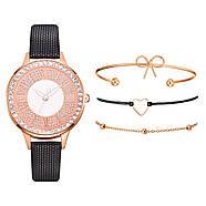 Женские наручные часы и 3 браслета в комплекте с черным ремешком, фото 3