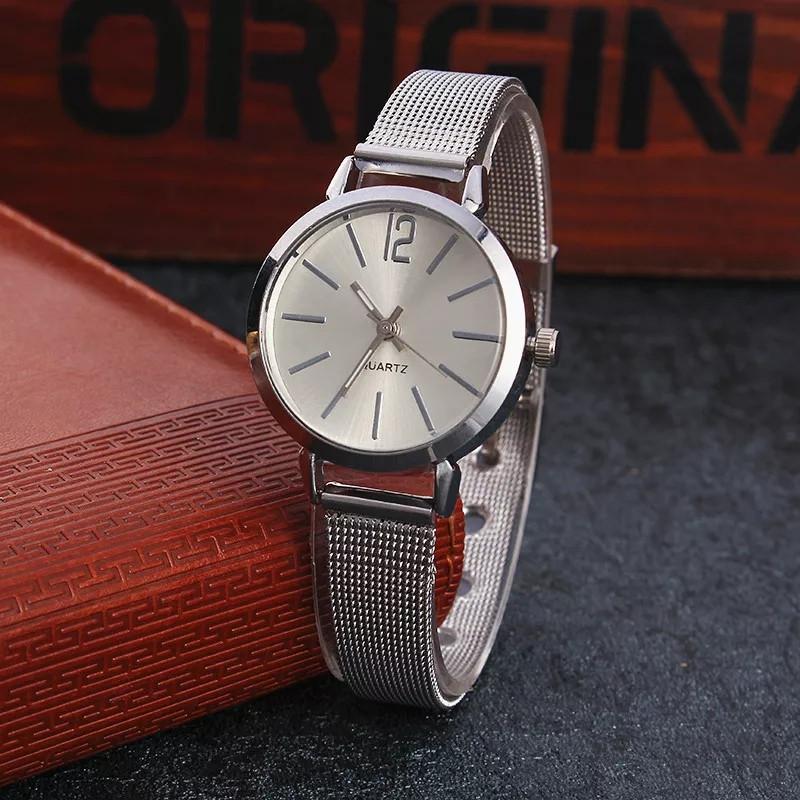 Женские наручные часы с кольчужным ремешком розовое золото