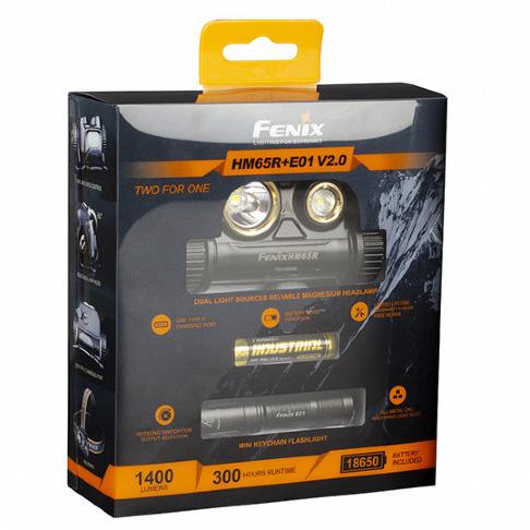 Набор налобный фонарь Fenix HM65R 1400 люмен встроенный USB+ мини фонарь Fenix E01 V2.0