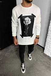 Свитшот - Стильный мужской белый с розой