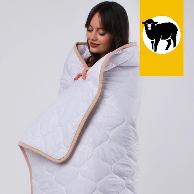 Одеяло с шерсти Мериноса сверхлегкое Ultra Lite Goodnight.Store 100х140 см (цвет белый)