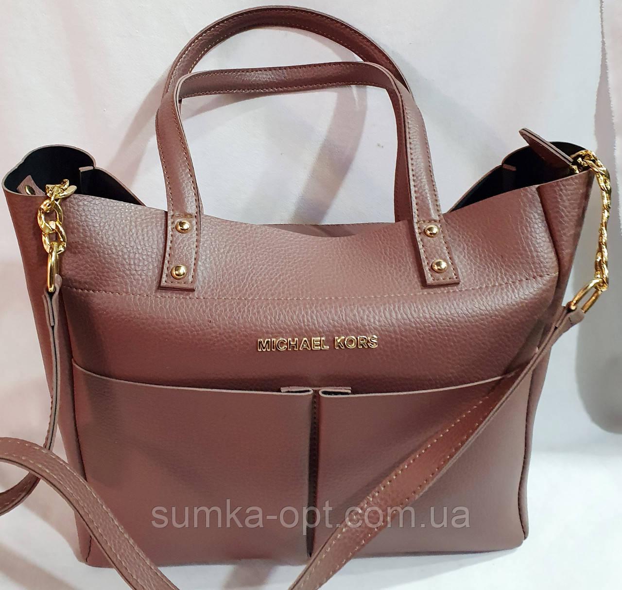 Брендовая женская сумка Michael Kors сиреневая из кожзама 32*29 см
