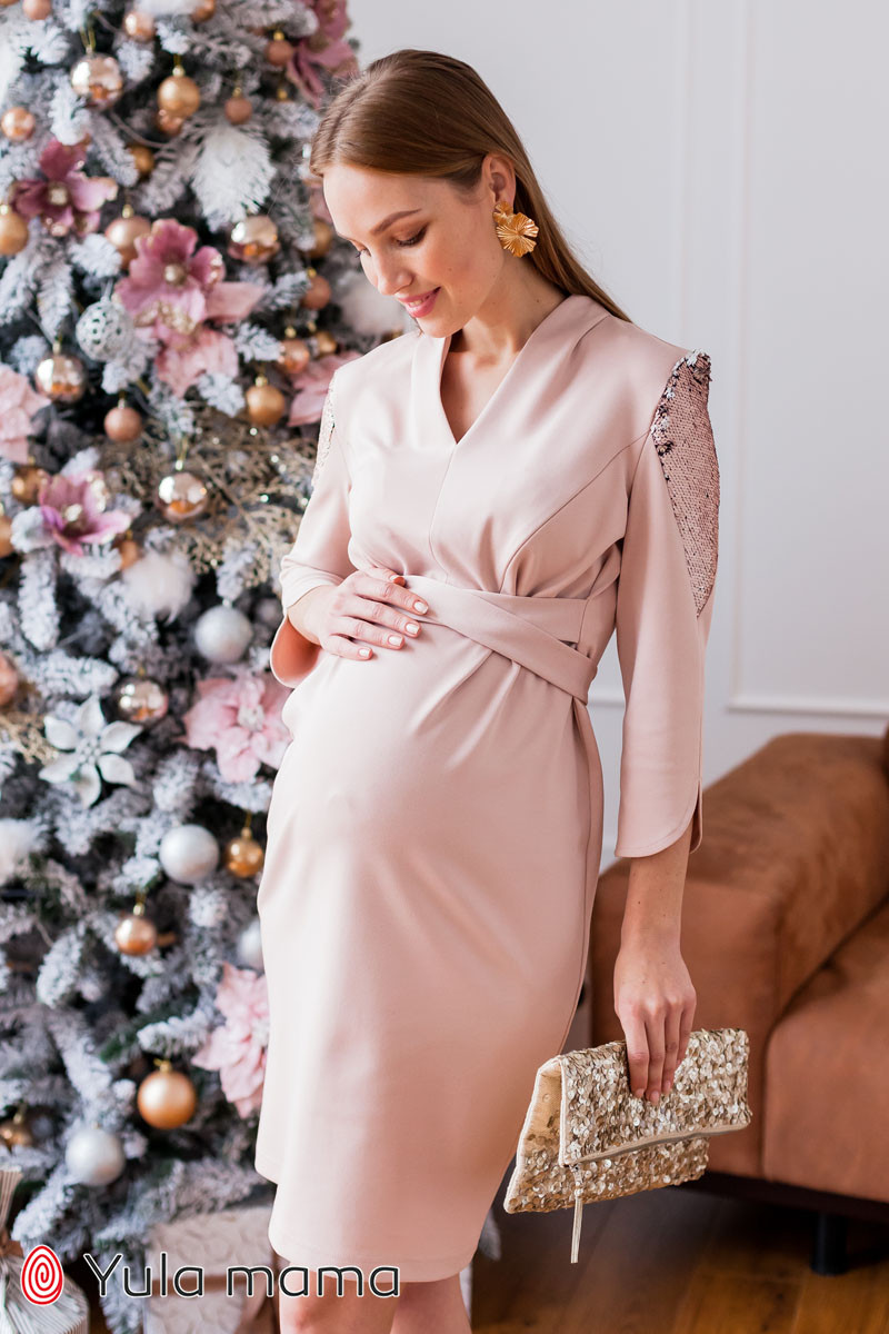 Нарядне плаття для вагітних і годуючих пудровое Юла Мама Mirella DR-49.222 xS
