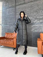 Длинное зимнее черное пальто из эко кожи женское, фото 1