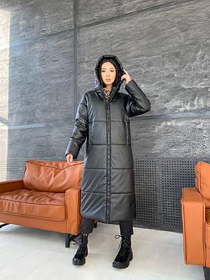 Длинное зимнее черное пальто из эко кожи женское
