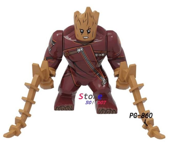 Большая фигурка Грут + диск-подставка. Супергерой Марвел 7-9 см конструктор аналог Лего