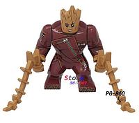 Большая фигурка Грут + диск-подставка. Супергерой Марвел 7-9 см конструктор аналог Лего, фото 1