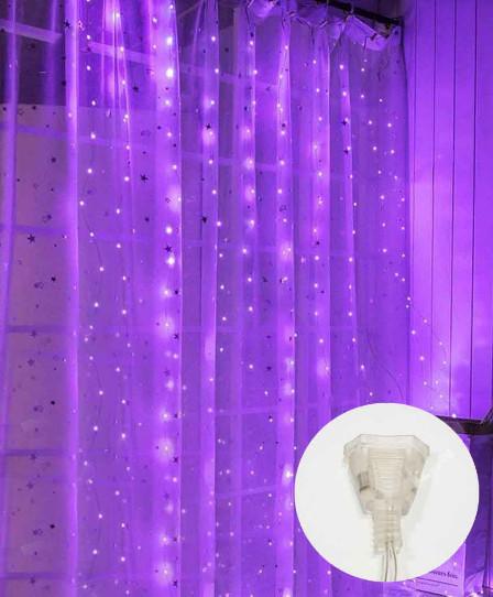 Электрическая гирлянда ШТОРА РОСА 200 л 3 м * 2 м, 8 режимов/соединитель, фиолетовый