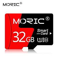 Карта памяти MicroSD 32 GB. MORIC. CLASS 10+ Adapter. Для телефонов, видеорегистраторов, фотоаппаратов.