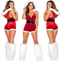 Сексуальный новогодний костюм снегурочки санта клаус комбинезон с капюшоном, S-XXL (размеры)