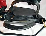 Брендовая женская сумка Michael Kors черно-красная из натуральной замши 29*25 см, фото 4