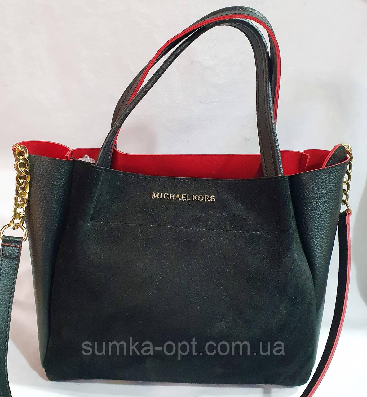 Брендовая женская сумка Michael Kors черно-красная из натуральной замши 29*25 см