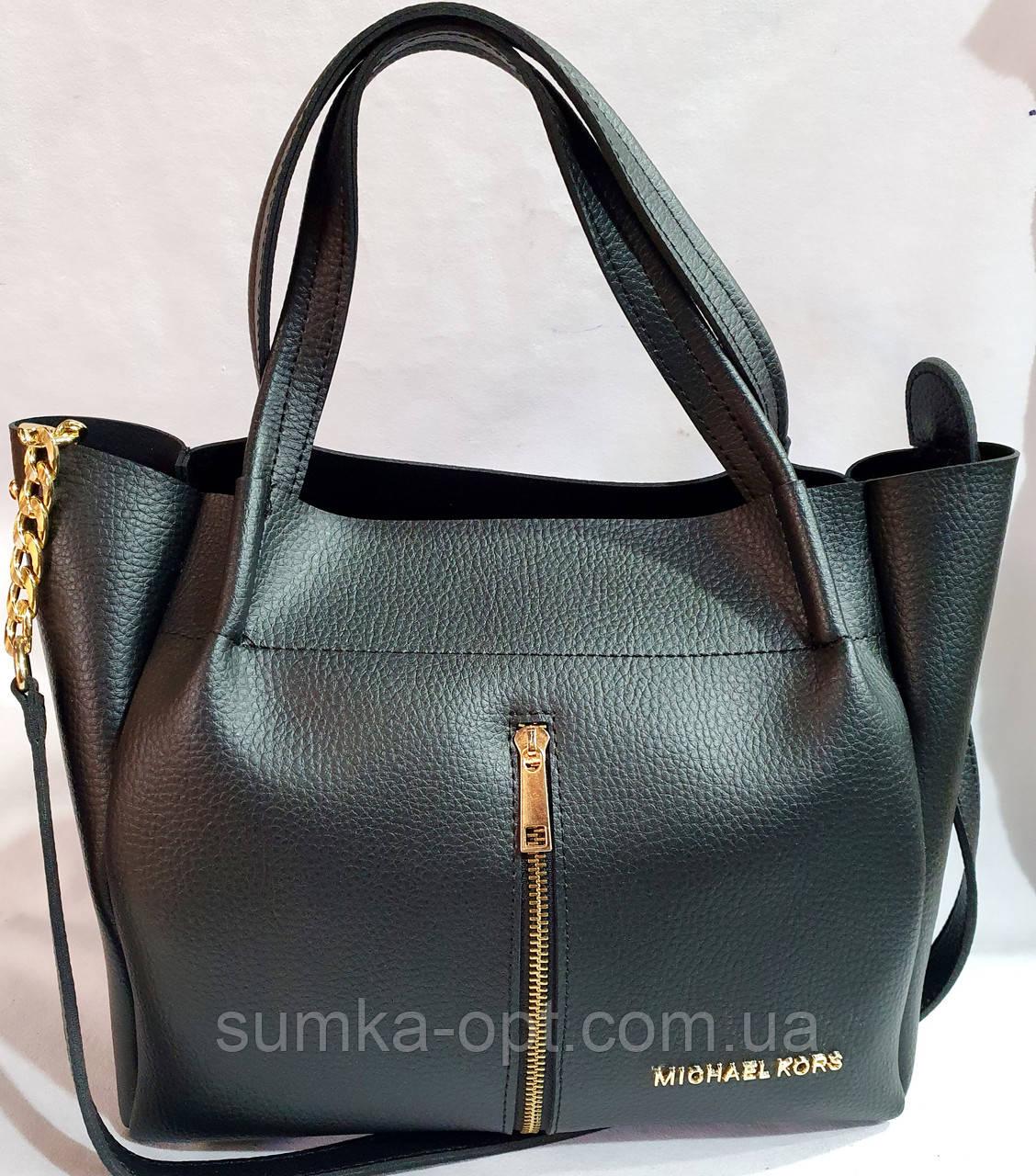 Брендовая женская сумка Michael Kors черная из искусственной кожи 29*25 см