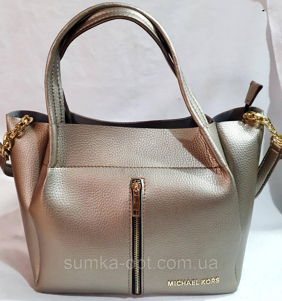 Брендовая женская сумка Michael Kors бронзовая из искусственной кожи 29*25 см