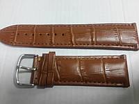 Ремешок светло-коричневый кожанный 24мм Genuine Leather