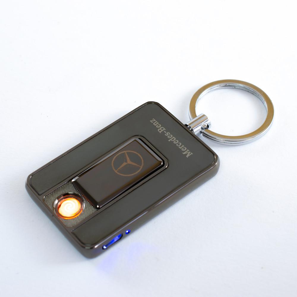 Распродажа! USB зажигалка брелок, Mercedes (Art - 811) Черная, спиральная электро зажигалка, от аккумулятора