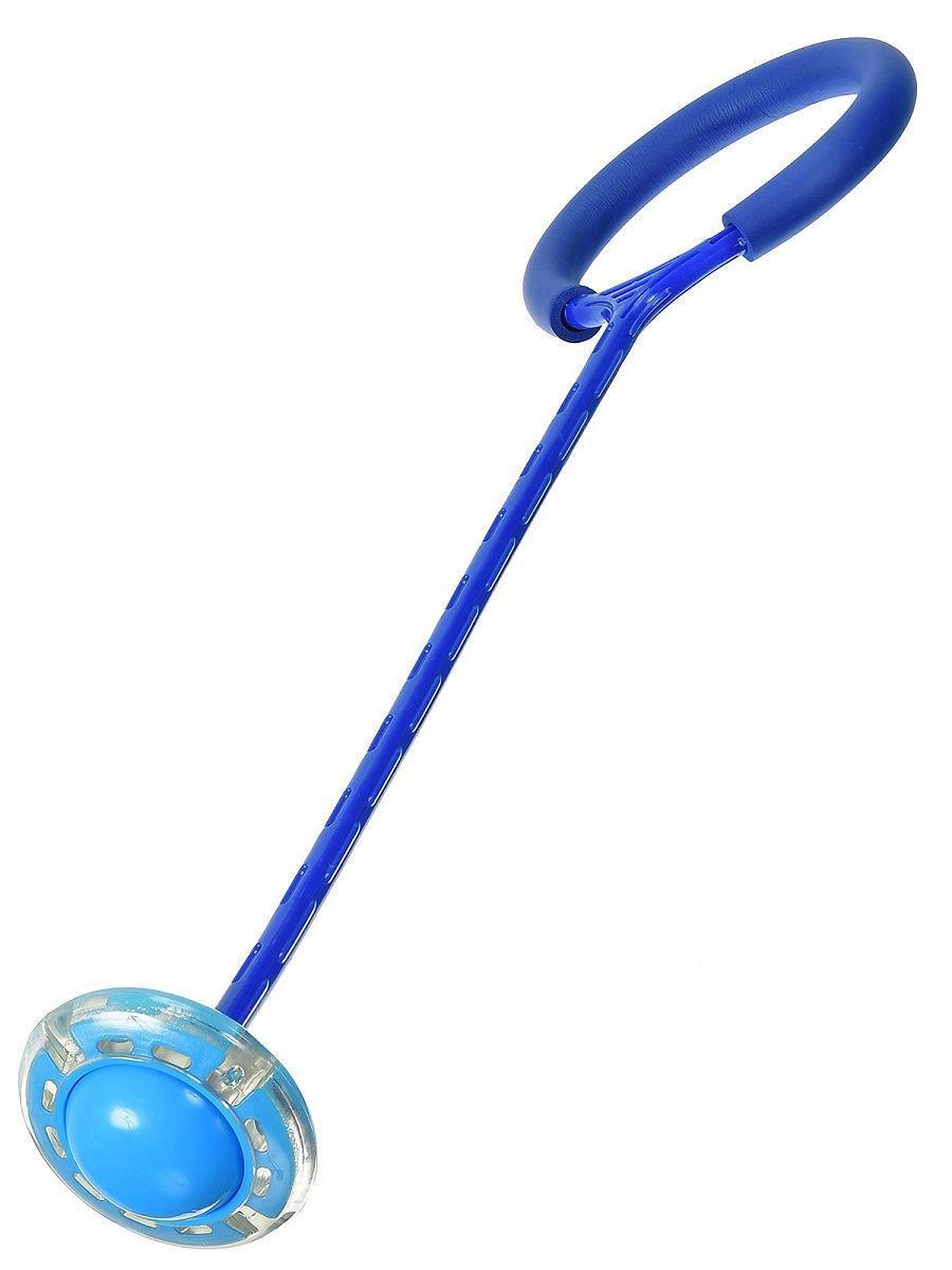 Светящаяся скакалка крутилка с колесиком на одну ногу - Нейроскакалка Синяя, с доставкой