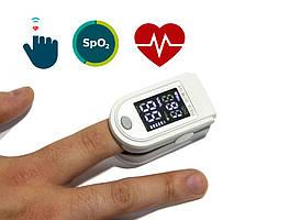 Пульсоксиметр серый с черно белым дисплеем, Oxiometer прибор для измерения кислорода в крови | пульсоксіметр