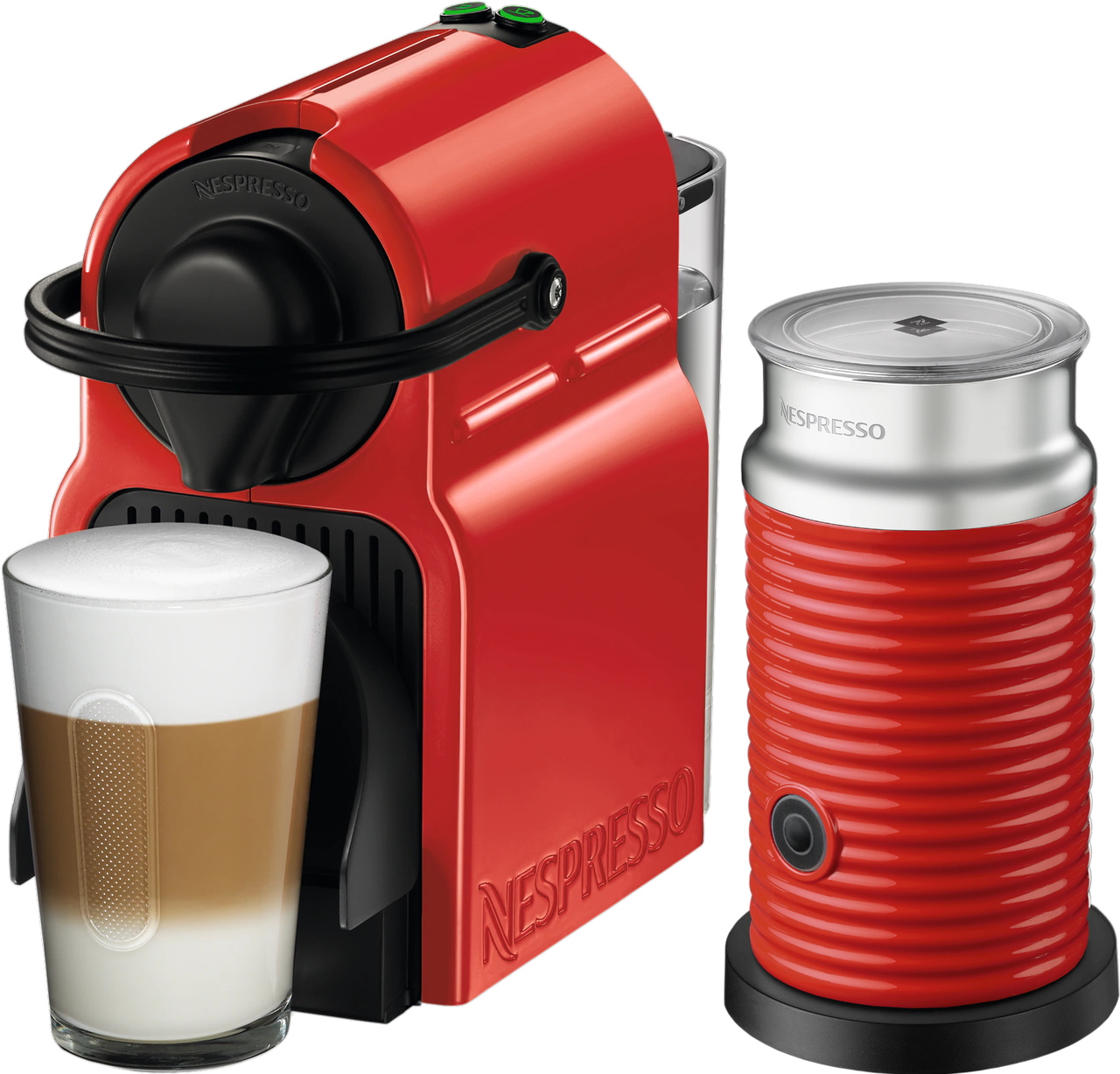 Кофемашина Nespresso Inissia Red D40 & Aeroccino 3 Red+ доставка бесплат+дегустационный набор (14 капсул)