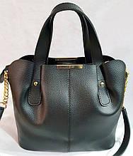 Женская сумка из качественной искусственной кожи украинского производства 30*27 см (черная)