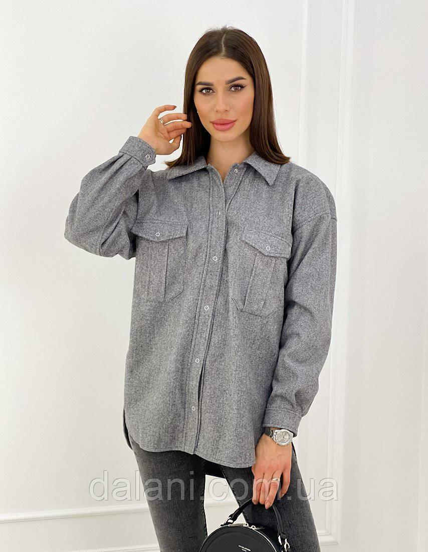 Женская серая шерстяная рубашка