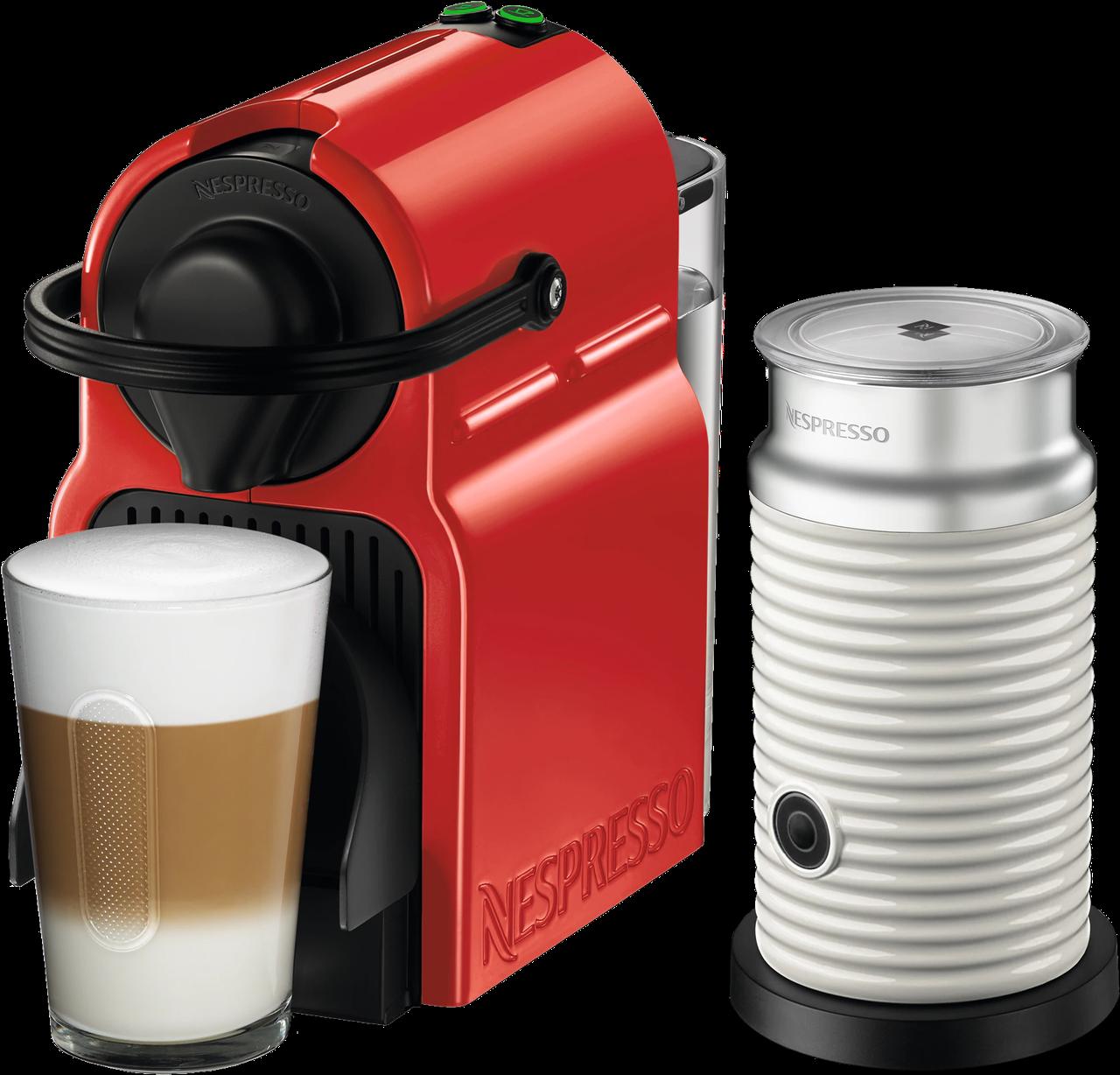 Кофемашина Nespresso Inissia Red D40 & Aeroccino 3 White + доставка бесплат+дегустационный набор (14 капсул)
