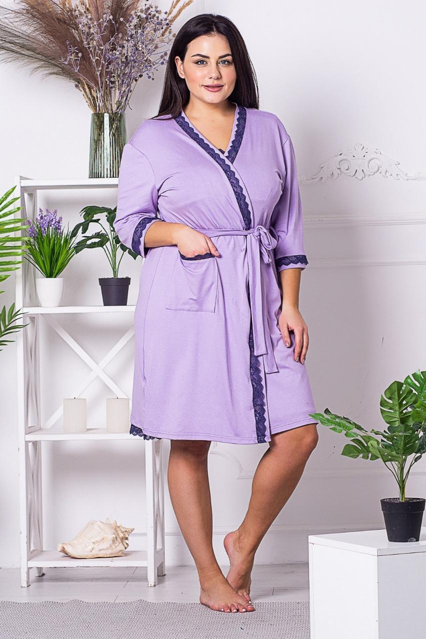 Комплект женский сорочка с халатом XXL+ К1326н Сирень