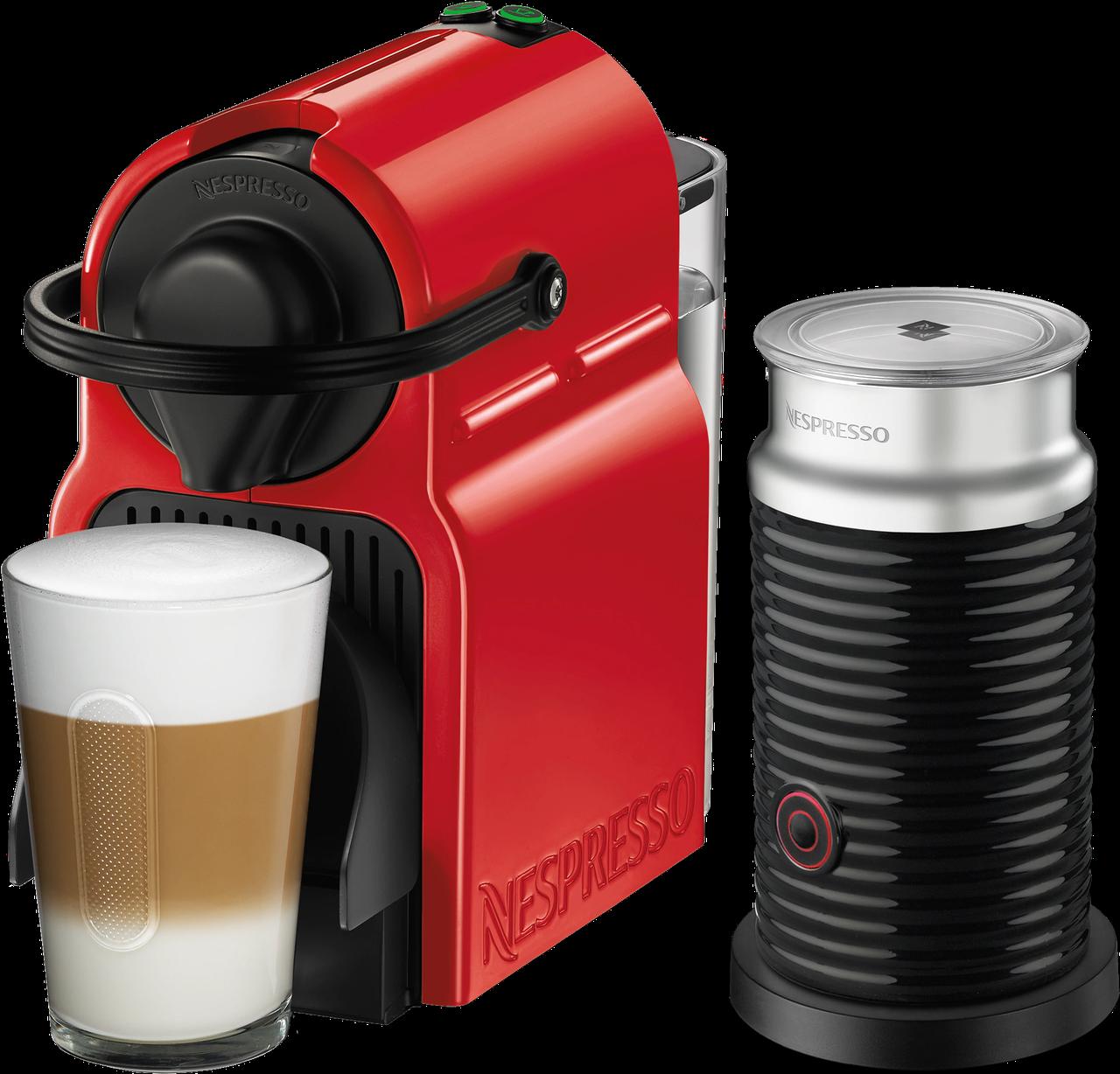 Кофемашина Nespresso Inissia Red D40 & Aeroccino 3 Black + доставка бесплат+дегустационный набор (14 капсул)