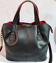 Женская сумка из качественной искусственной кожи украинского производства 30*27 см (черно-красная)