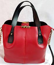 Женская сумка из качественной искусственной кожи украинского производства 30*27 см (красная)