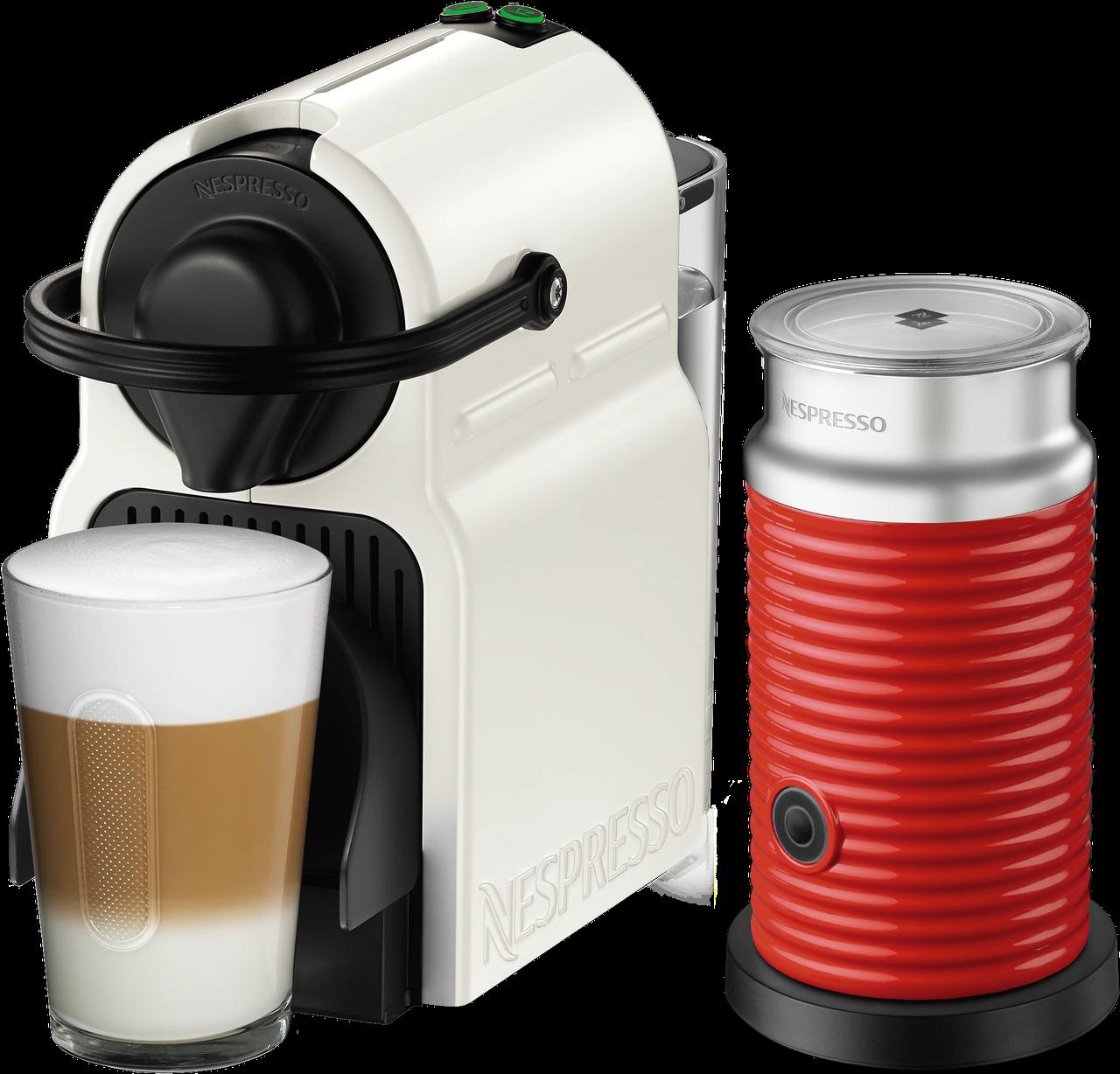 Кофемашина Nespresso Inissia White D40 & Aeroccino 3 Red + доставка бесплат+дегустационный набор (14 капсул)