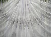 """Тюль лен вышивка Белая с серым в зал спальню гостиную ресторан гостиницу """"Версаль-2"""" Высота 3,05 м, фото 1"""