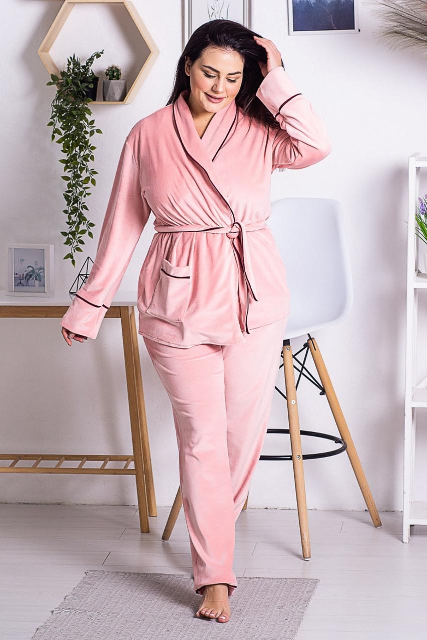 Комплект женский плюшевый XXL+ К1301 Розовый 3XL (52-54)