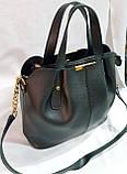 Женская сумка из натуральной замши украинского производства 30*27 см (черно-красная), фото 2