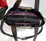 Женская сумка из натуральной замши украинского производства 30*27 см (черно-красная), фото 3