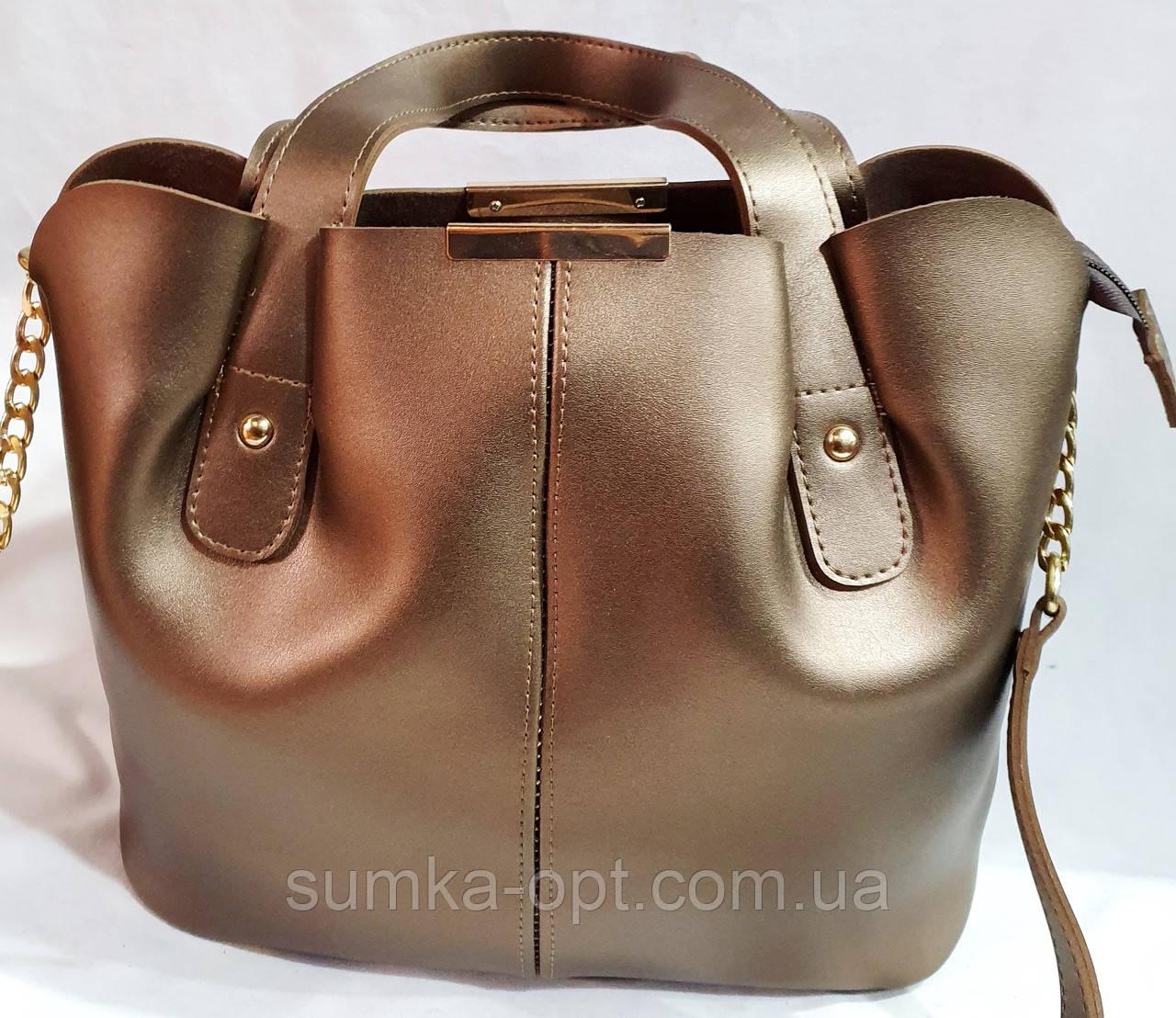 Женская сумка из качественной эко-кожи украинского производства 30*27 см (бронза) расспродажа