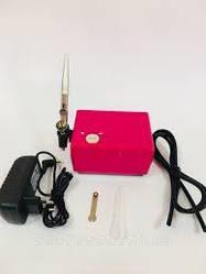 Аэрограф профессиональный с мини-компрессором. Розовый