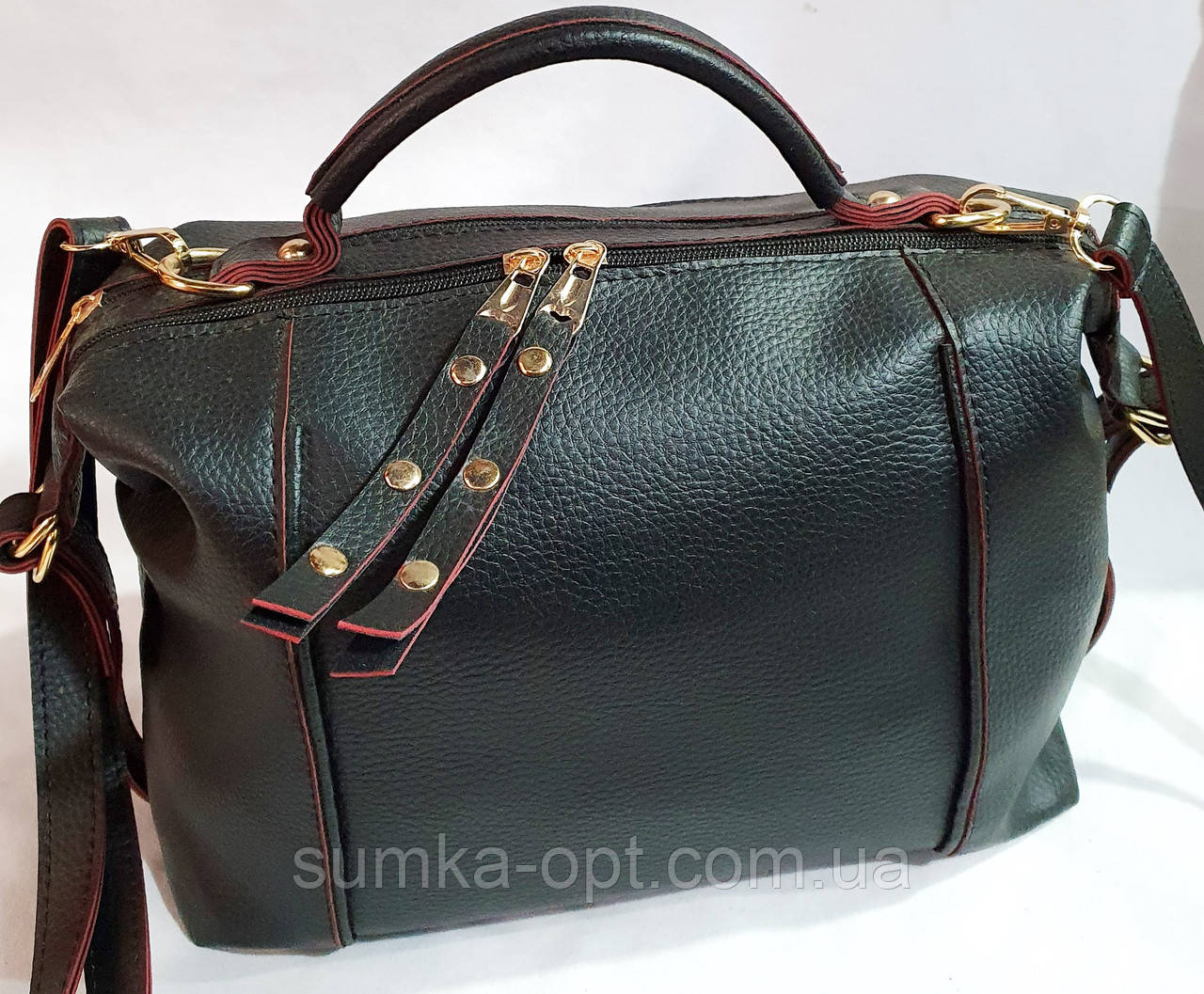 Брендовая женская сумка Zara с золотой фурнитурой и на 2 молнии 30*21 см (распродажа) черно-красная