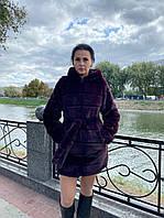 """Женская шуба с капюшоном и поясом  из искусственного меха """"Шиншилла"""" 90 см. бордо (р-р.: 42 -48), фото 1"""