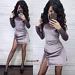 Платье велюровое приталенное с разрезами по бокам нарядное длиной мини (р. 42-46) 9031995, фото 3
